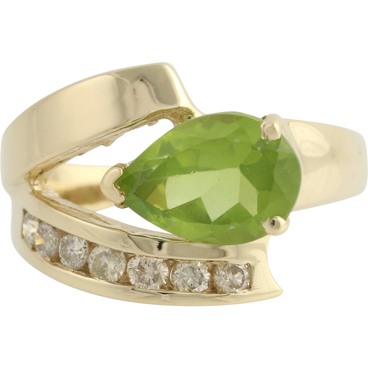 Peridot & Diamond Cocktail Ring - 14k Yellow Gold 6 1/2 Genuine 1.75ctw