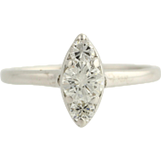Diamond Engagement Ring- 14k White Gold Solitaire with Accents 5 3/4 Fine .56ctw Unique Engagement Ring