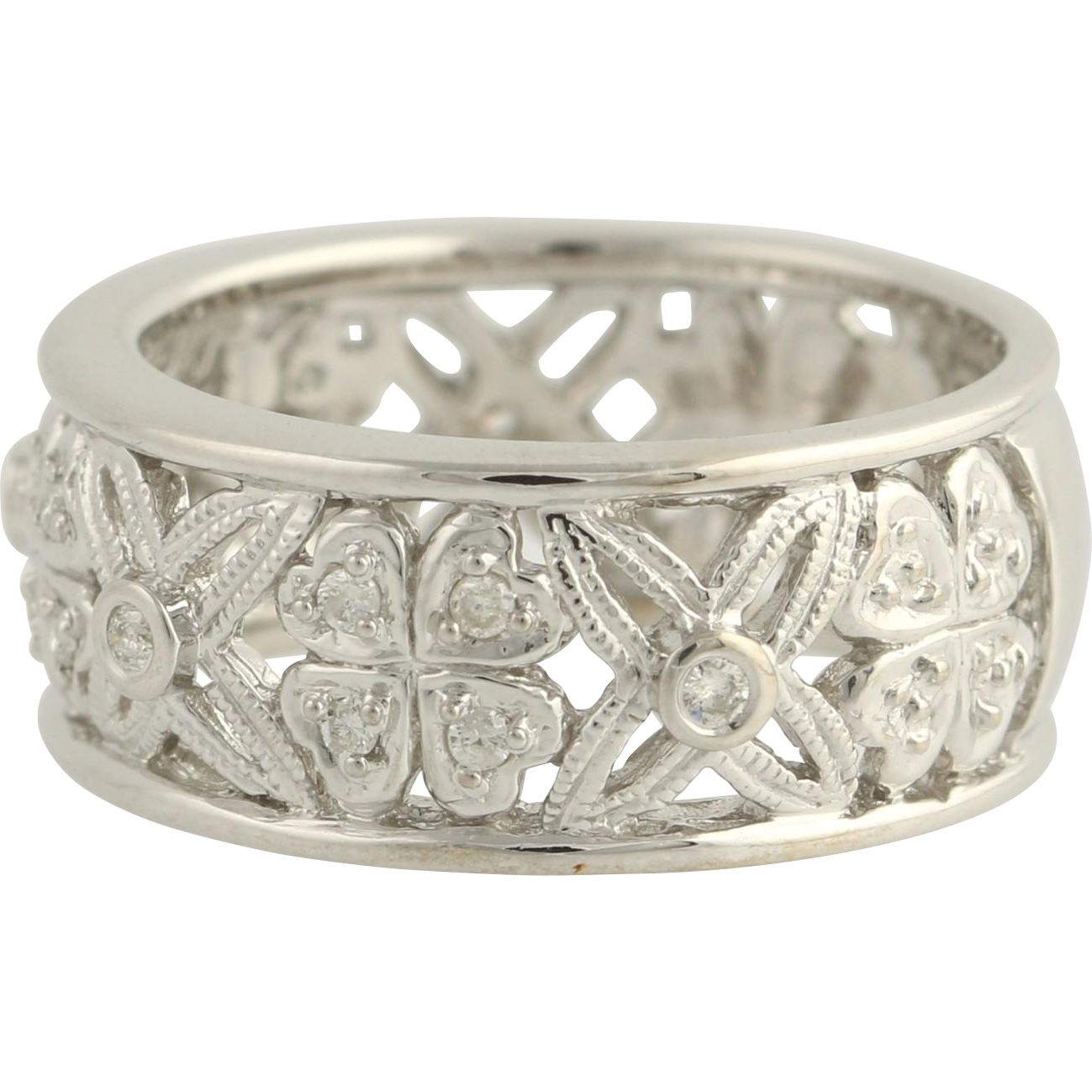 Floral Diamond Cocktail Band - 14k White Gold Size 6 1/2 - 6 3/4 Genuine .20ctw