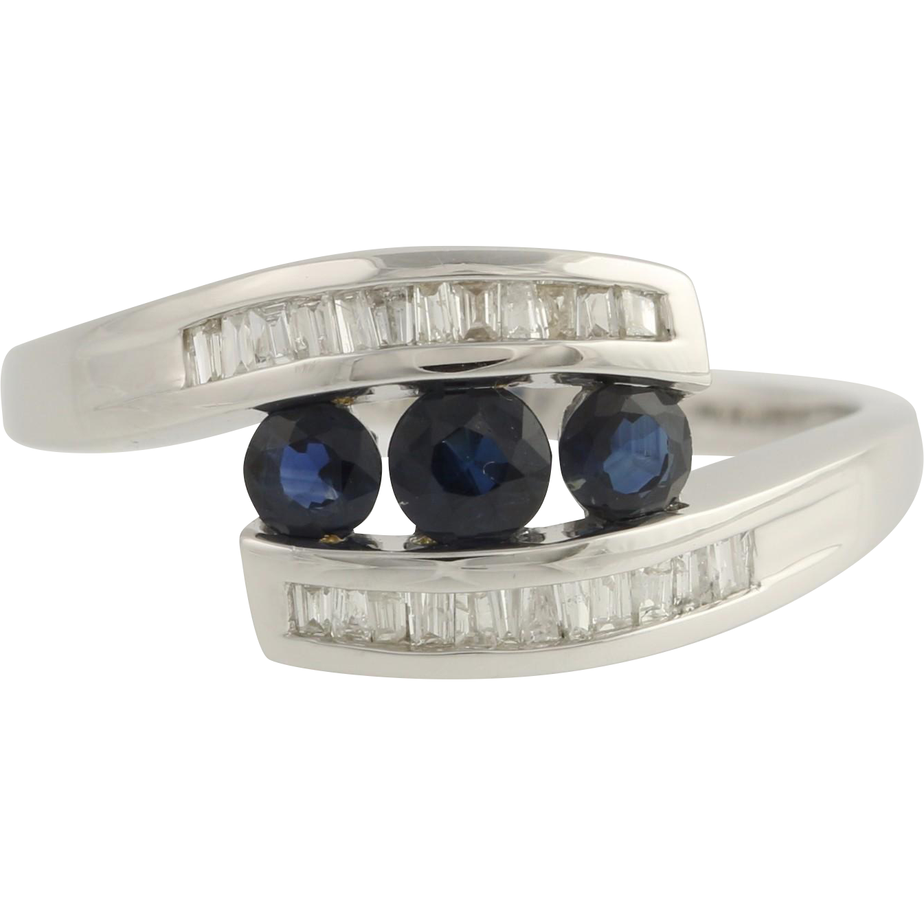 Sapphire & Diamond Cocktail Bypass Ring - 10k White Gold Genuine .75ctw