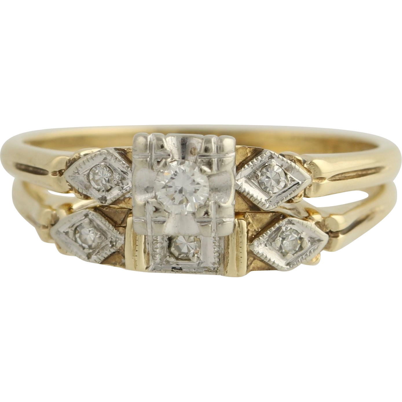 Art Deco Diamond Engagement Ring and Wedding Band - 14k Yellow & White Gold Unique Engagement Ring .10ctw