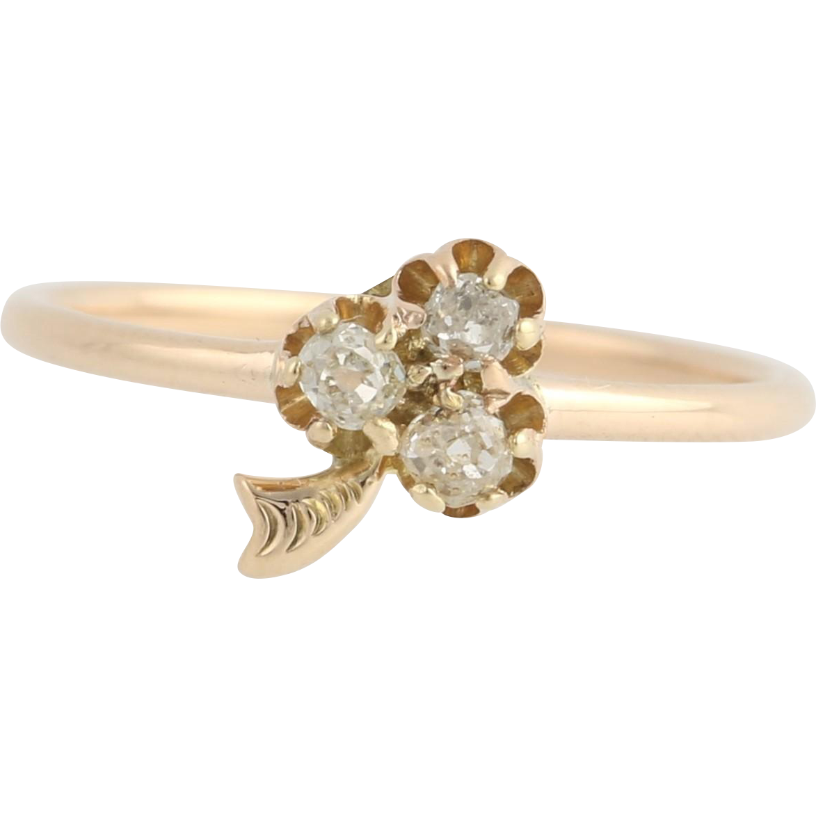 Victorian Diamond Clover Ring - 10k Yellow Gold Converted Stick Pin Fine .18ctw