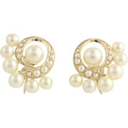 Elegant Pearl Earrings-14k Yellow Gold High Luster Cultured & Seed Non-Pierced