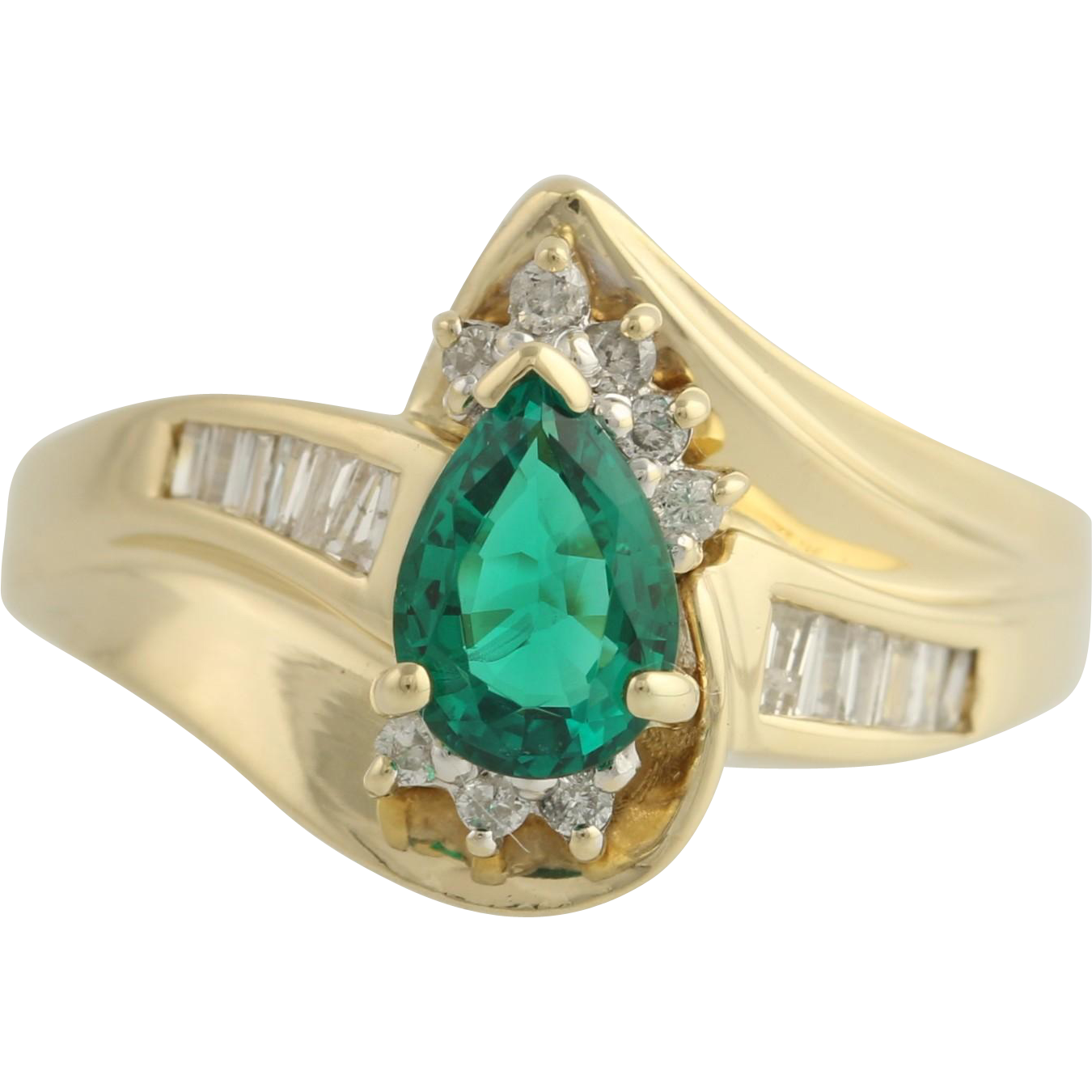 Synthetic Emerald and Diamond Cocktail Ring - 14k Yellow & White Gold Fine .95ctw