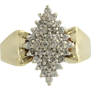 Diamond Cluster Cocktail Ring - 10k Yellow & White Gold 5 3/4 Genuine .50ctw