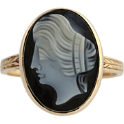 Victorian Era Hardstone Agate Cameo Ring - 14k Yellow Gold Women's Size 3 3/4