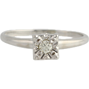 Diamond Solitaire Engagement Ring - 14k White Gold Size 9 Genuine .12ctw