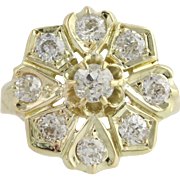 Edwardian Floral Diamond Cocktail Ring - 14k Yellow Gold Size 4 1/4 Fine 1.16ctw