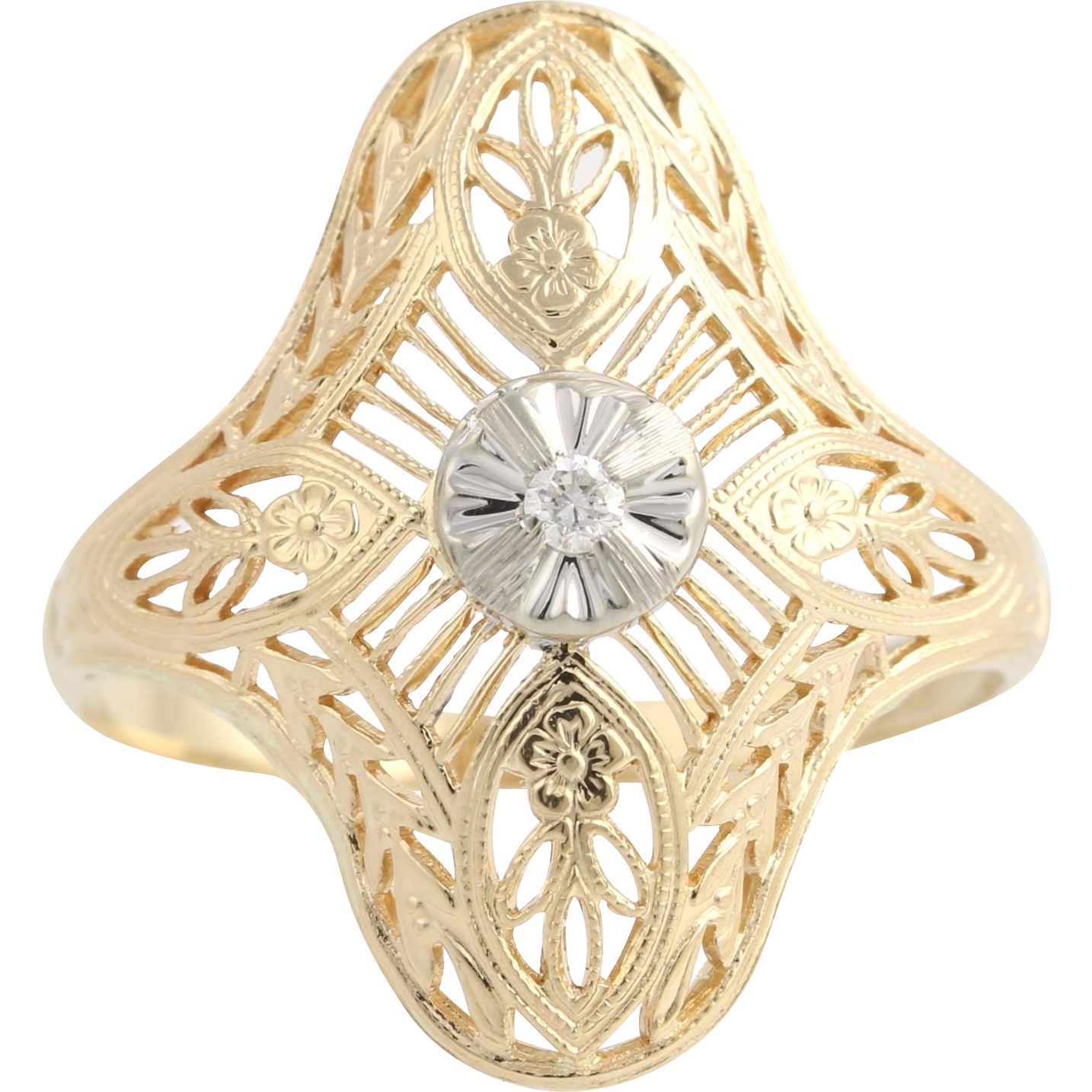 Vintage Cocktail Ring - 14k Yellow & White Gold c.1940's Natural Diamond .03ctw