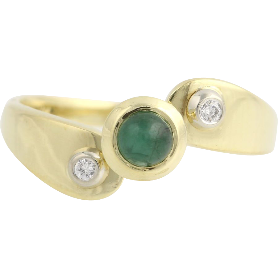 Emerald and Diamond Bypass Ring - 18k Yellow & White Gold Genuine .23ctw