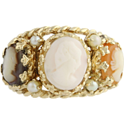 Cameo Cocktail Band - 14k Yellow Gold Seed Pearls Shell & MOP Ring