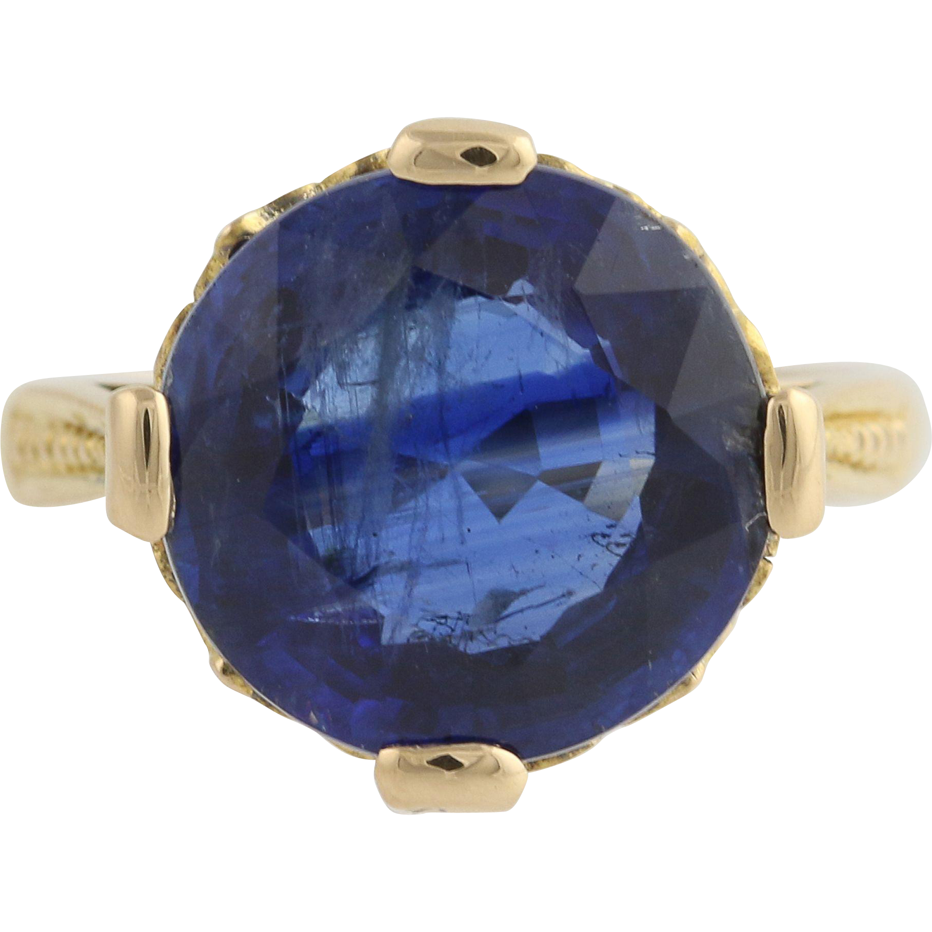 Vintage 5.65ct Kyanite Cocktail Ring - 18k Yellow Gold Solitaire