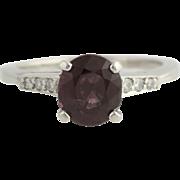 Vintage Spinel & Diamond Ring - Platinum Women's Size 8 Polished Genuine 2.37ctw