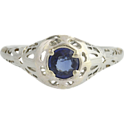 Art Deco Era Sapphire Ring - 18k White Gold Setpember Birthstone Genuine .40ctw