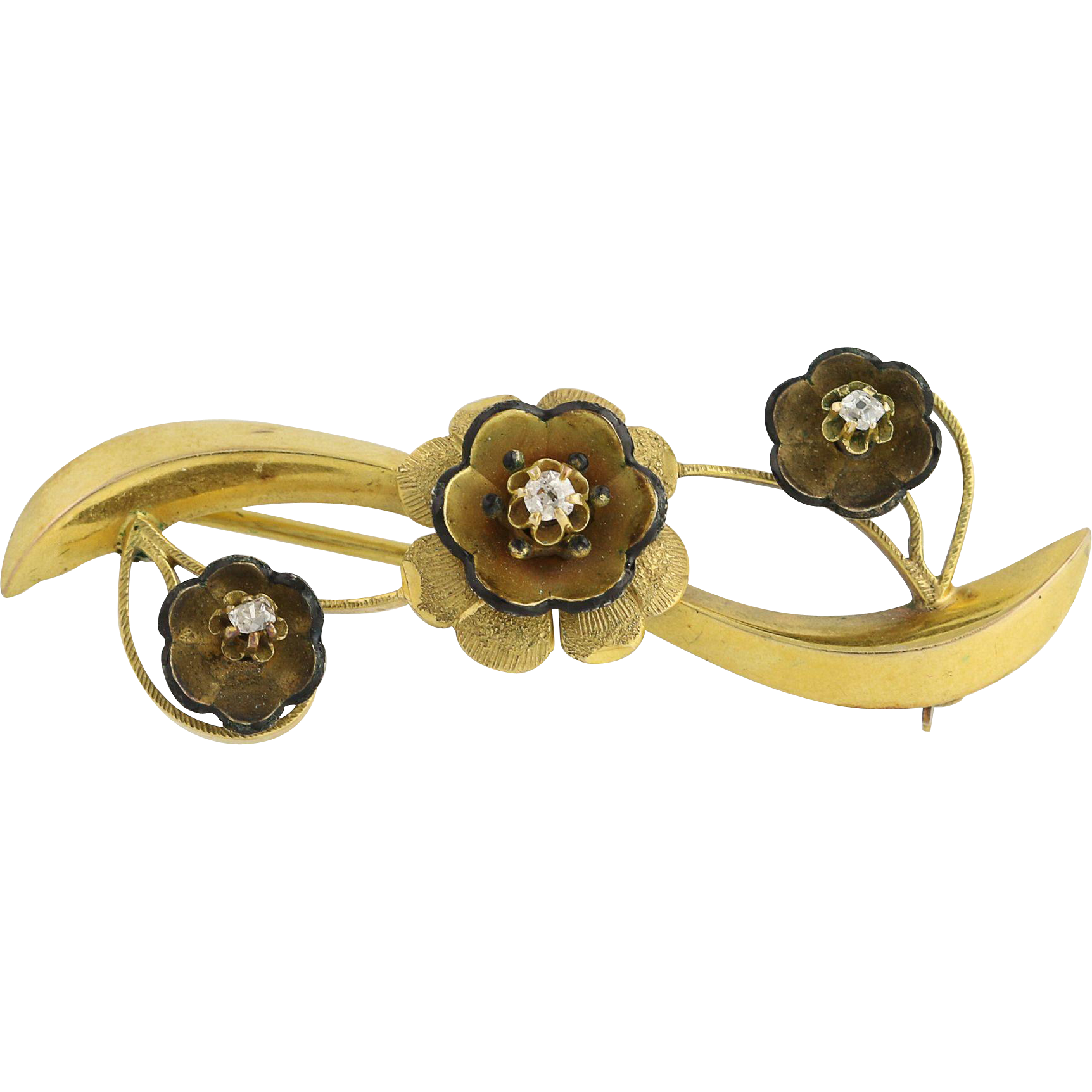 Victorian Diamond Flower Brooch - 14k Yellow Gold 1880-80s Vintage Enamel