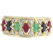 Multi-Gemstone Ring - 14k Yellow & White Gold Rubies Size 7 Genuine 1.38ctw