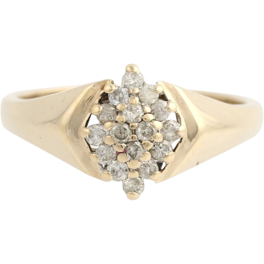Diamond Cluster Cocktail Ring - 10k Yellow Gold Women's 6 1/2 Genuine .25ctw