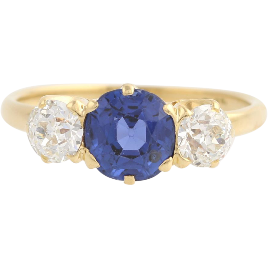 Art Deco Sapphire & Diamond Three Stone Ring 18k Yellow Gold Engagement 2.16ctw