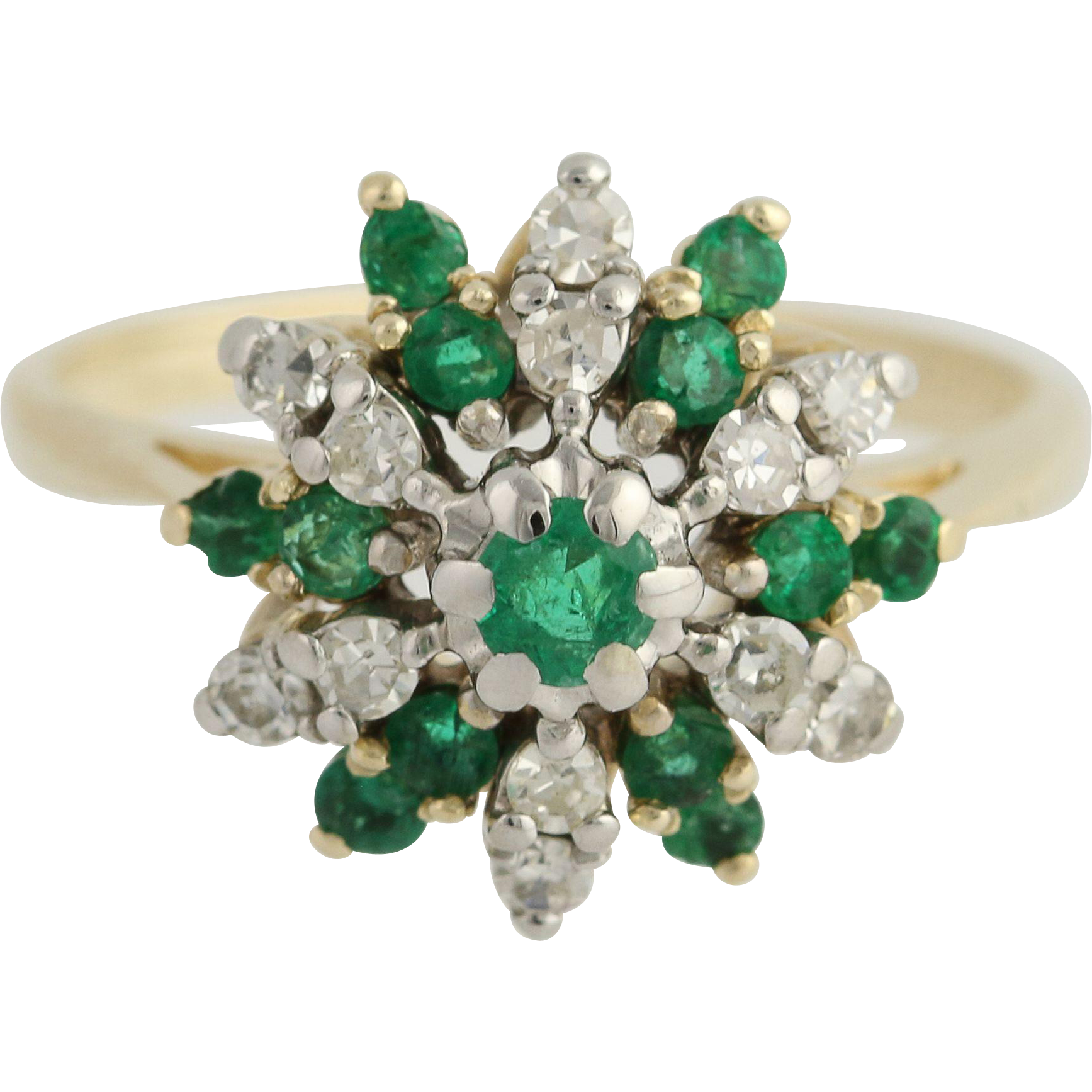 Emerald & Diamond Cluster Cocktail Ring - 14k Yellow & White Gold May .94ctw