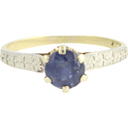 Art Deco Sapphire Ring 1920s-1930s 10k Yellow 18k White Gold Floral Engagement