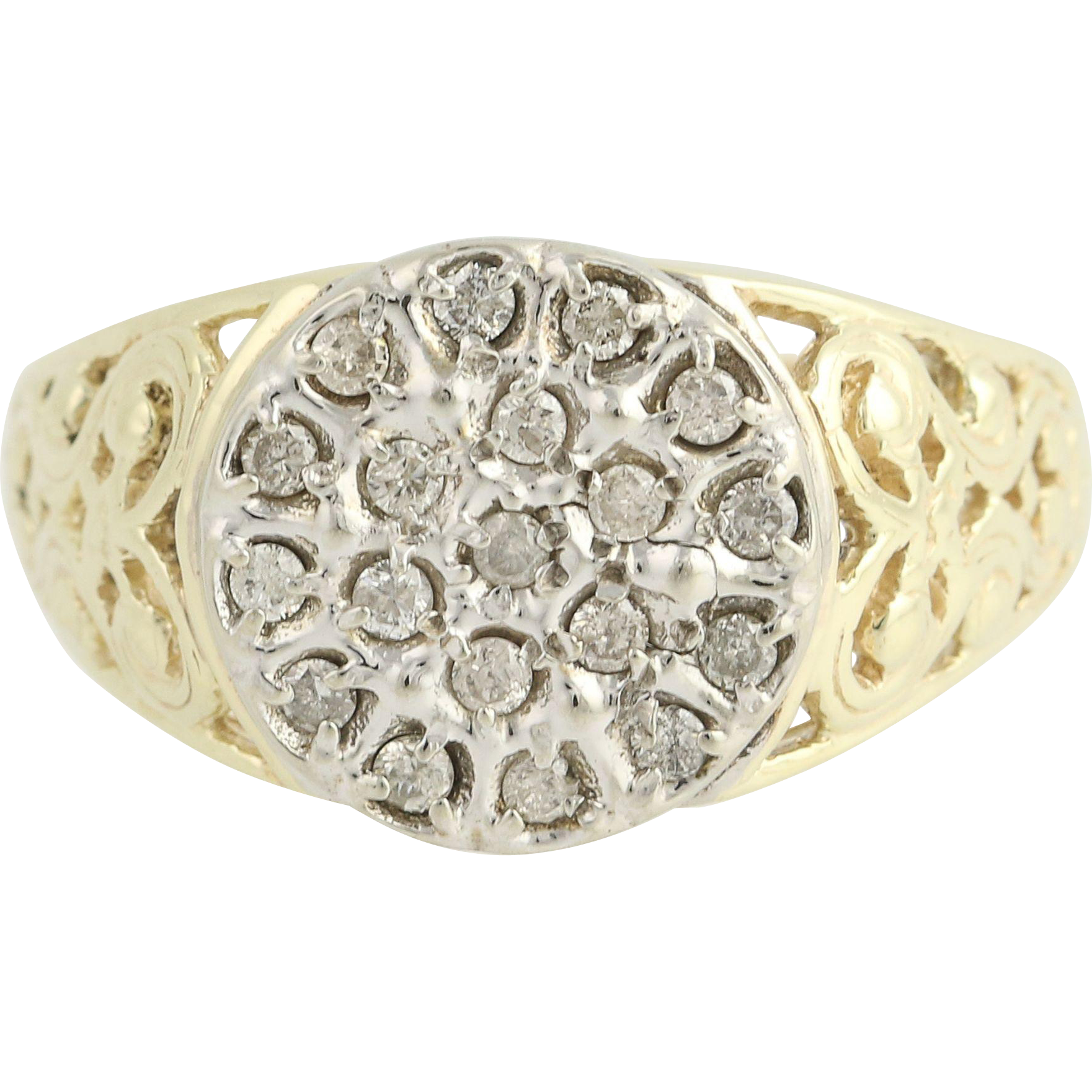 Men's Vintage Diamond Cluster Ring - 10k Yellow White Gold Scroll Work 0.50ctw