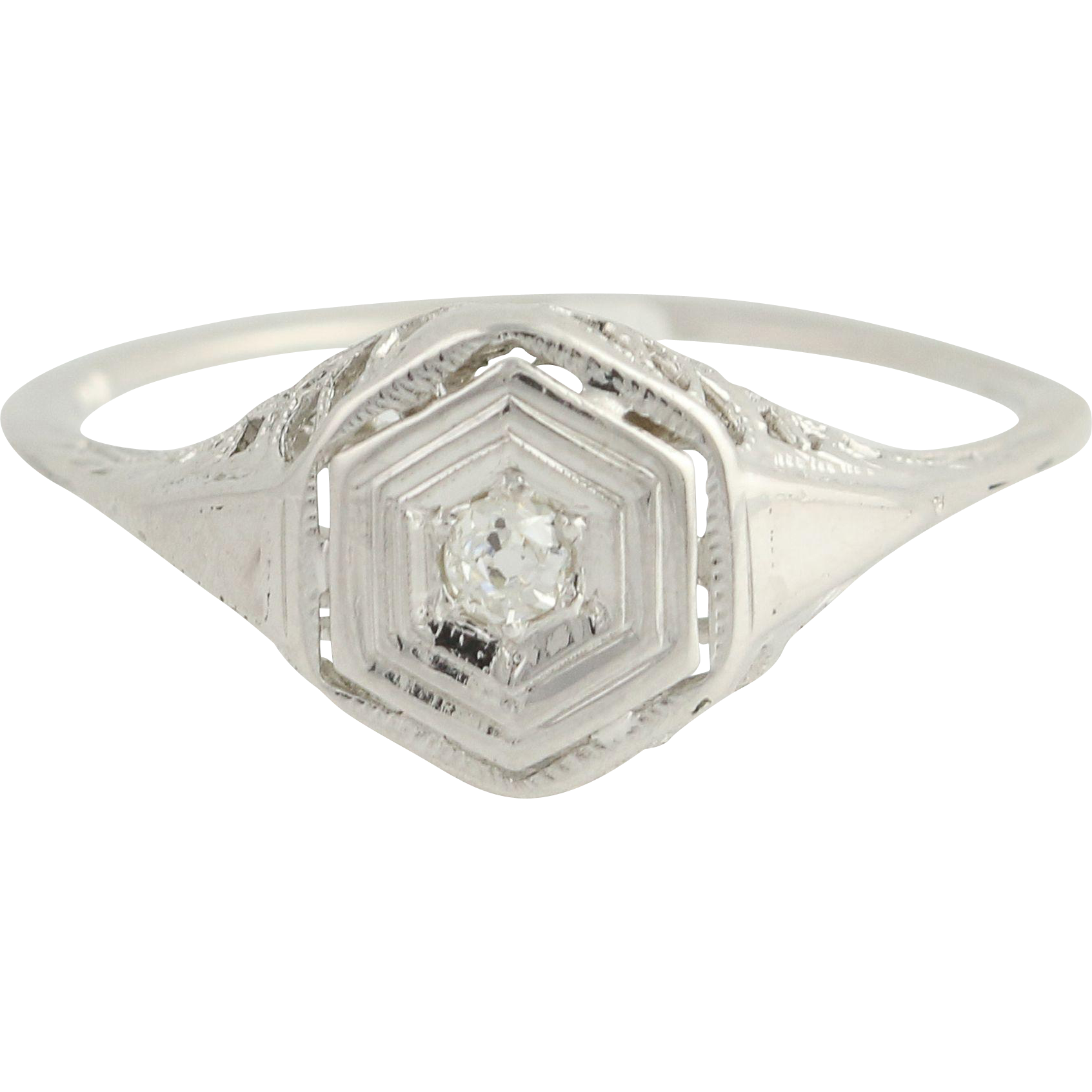 Art Deco Diamond Ring - 10k White Gold Old Mine Cut Vintage .05ct