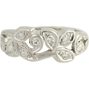 Retro Diamond Ring - 900 Platinum Milgrain Floral Vintage .14ctw