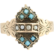 Victorian Pearl & Turquoise Ring - 14k Yellow Gold Women's Antique