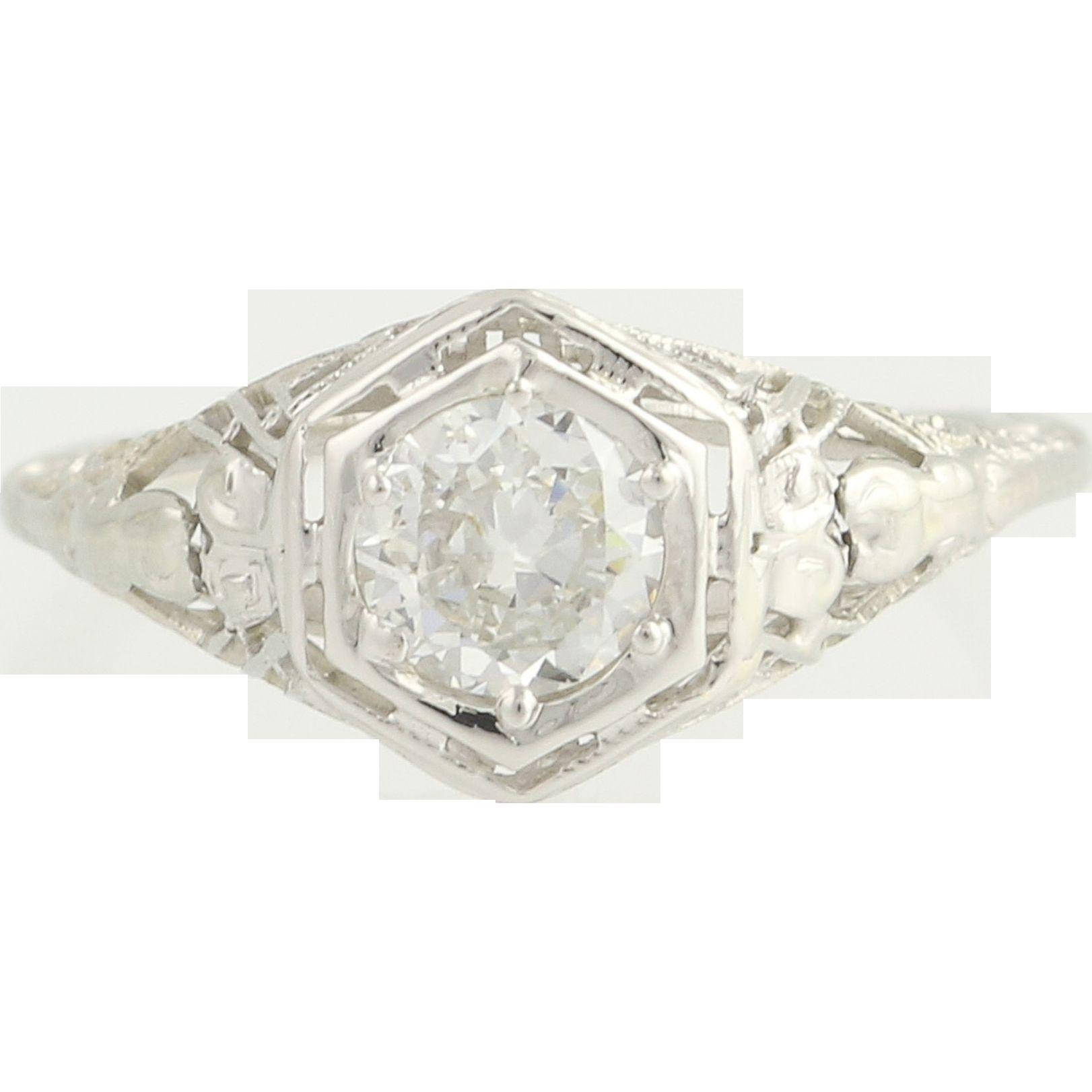 Art Deco Diamond Engagement Ring - 18k White Gold European Cut .60ct