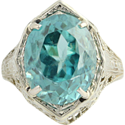 Art Deco Blue Zircon Cocktail Ring - 18k White Gold Vintage 10.28ct