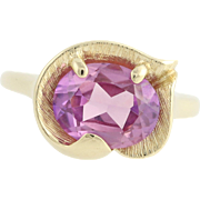 Synthetic Sapphire Ring - 14k Yellow Gold September Solitaire 3.15ct