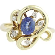 Sapphire & Diamond Ring - 14k Yellow & White Gold September .95ctw