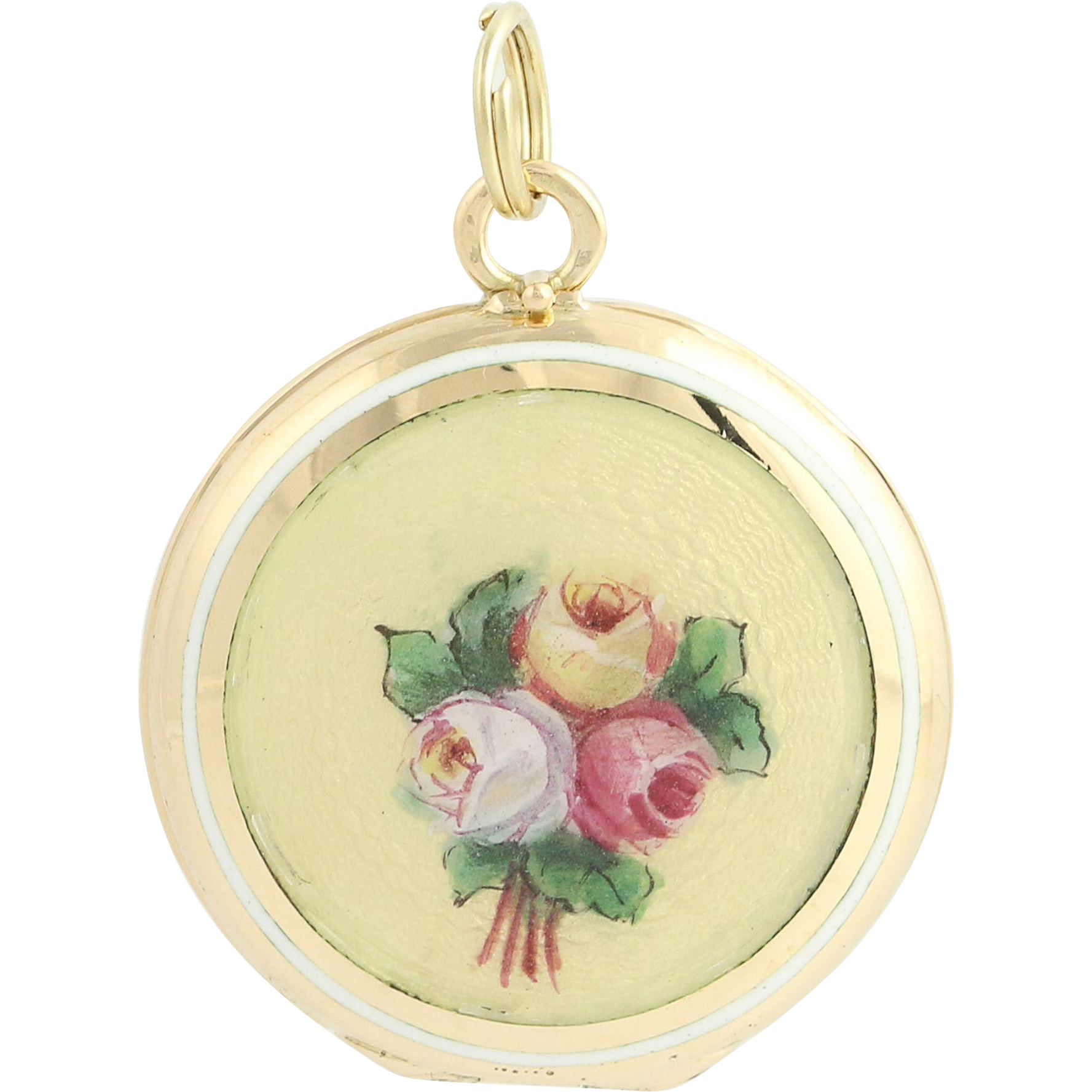 Vintage Floral Locket - 14k Yellow Gold Enameled Keepsake