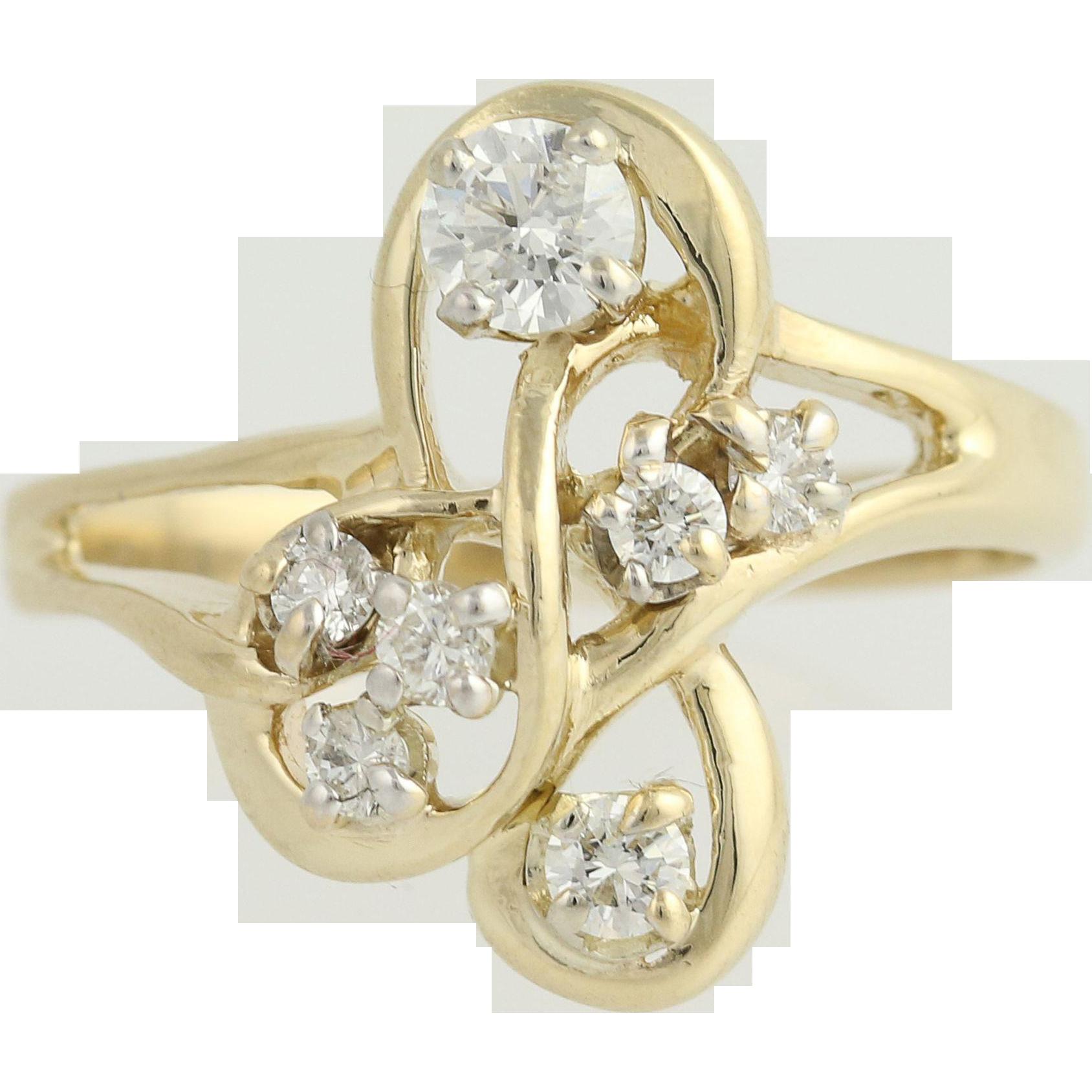 Diamond Ring - 14k Yellow & White Gold Bypass Women's .57ctw