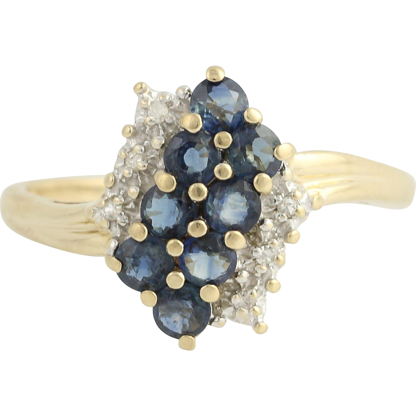 Sapphire & Diamond Bypass Ring - 10k Yellow & White Gold 1.07ctw
