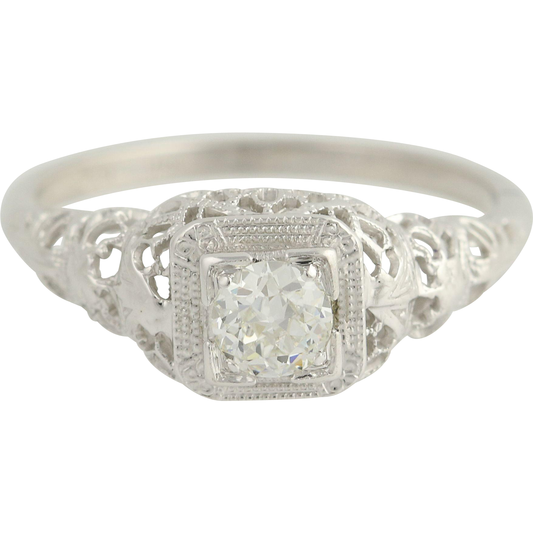 Art Deco Diamond Engagement Ring - 18k & 14k White Gold Vintage .52ct