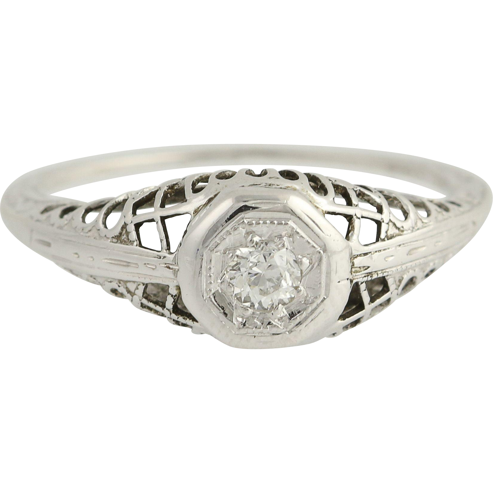 Art Deco Diamond Engagement Ring - 18k White Gold European Cut Vintage .10ct