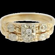 Retro Diamond Engagement Ring & Wedding Band - 14k Gold Vintage .05ct