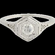 Art Deco Diamond Solitaire Ring - Platinum Vintage .45ct