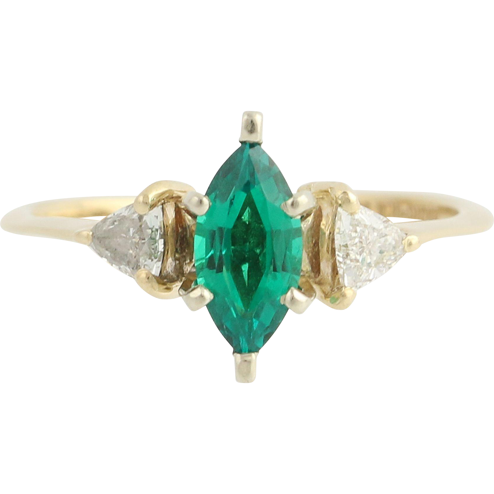 Synthetic Emerald & Diamond Ring - 14k Yellow Gold May .84ctw