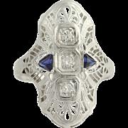 Art Deco Diamond & Synthetic Sapphire Ring - 18k White Gold Vintage .06ctw