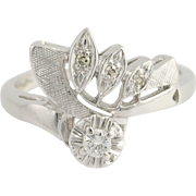 Vintage Bypass Ring - 14k White Gold Diamonds Unique Design Women's