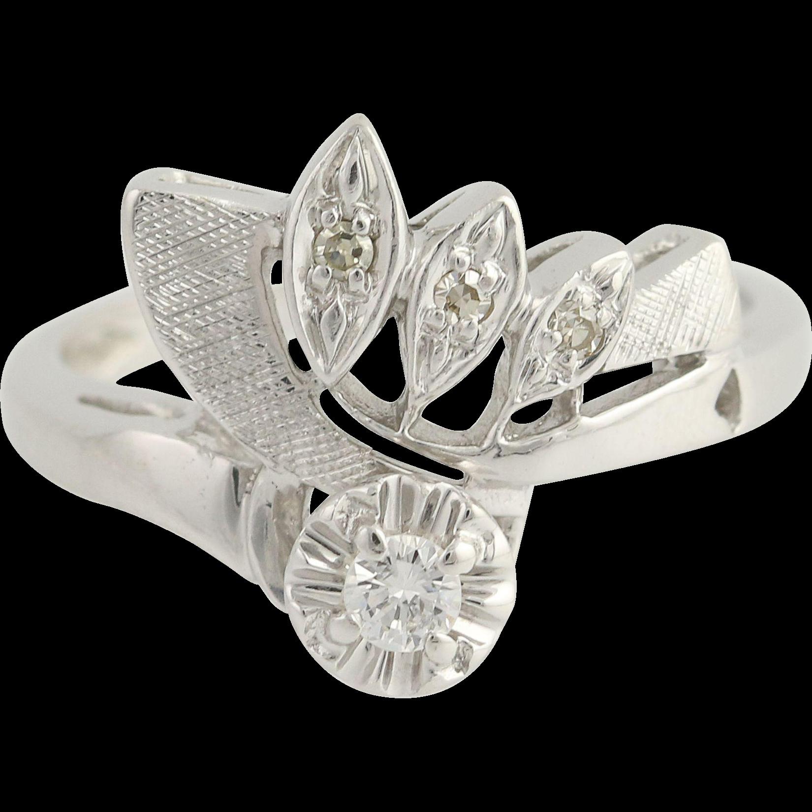 Vintage Bypass Ring - 14k White Gold Diamonds Unique Design Women's