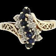 Sapphire & Diamond Bypass Ring - 10k Yellow & White Gold .60ctw