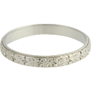 Art Deco Women's Wedding Band - 18k White Gold Vintage Floral 13 1/4