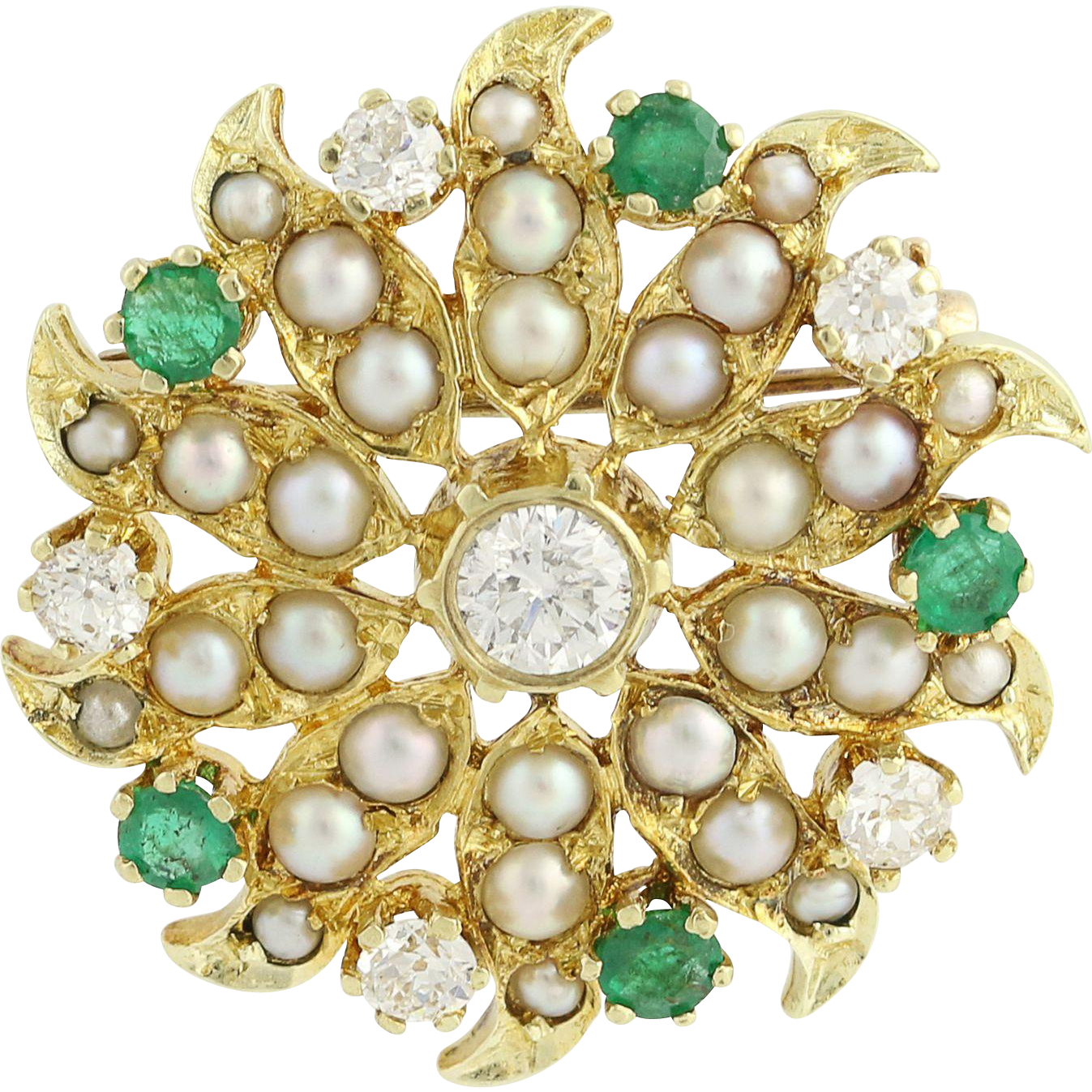 Vintage Pearl, Diamond, & Emerald Brooch - 14k Yellow Gold 1.83ctw