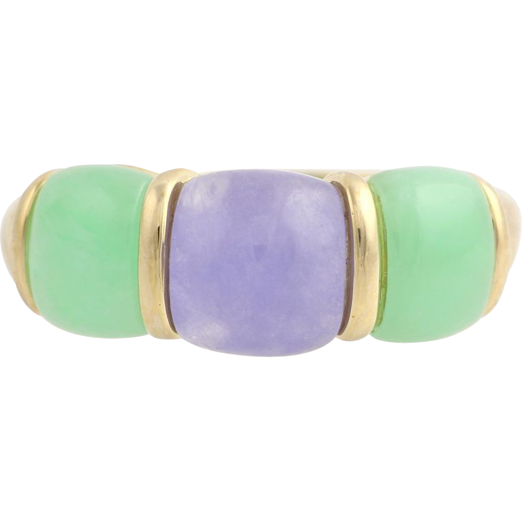 Lavender & Green Jadeite Cocktail Band- 14k Yellow Gold Dyed Jade Women's Size 8