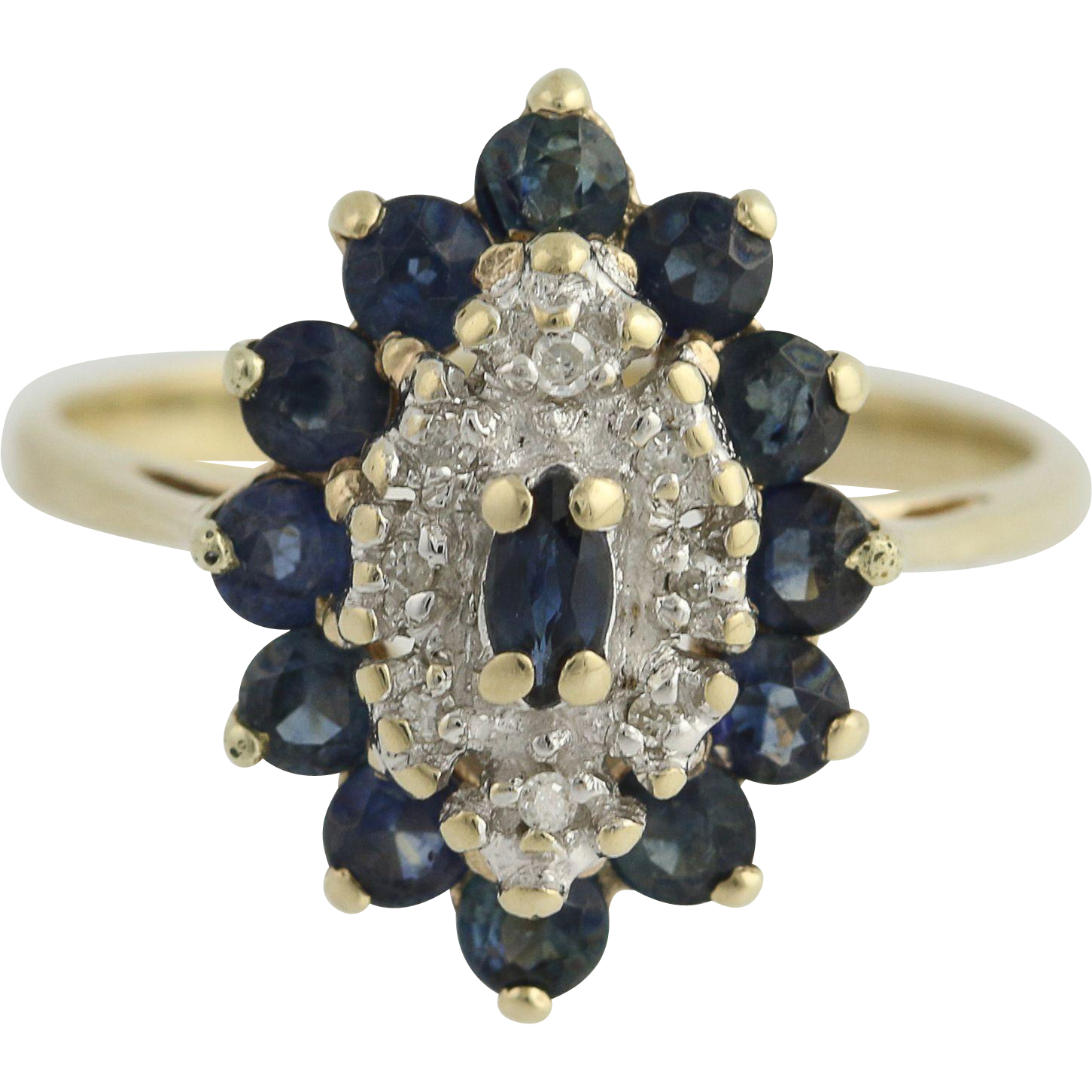 Sapphire & Diamond Ring - 10k Yellow & White Gold Cluster Halo 1.60ctw
