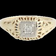 Art Deco Diamond Ring - 10k Yellow & White Gold Vintage .12ct
