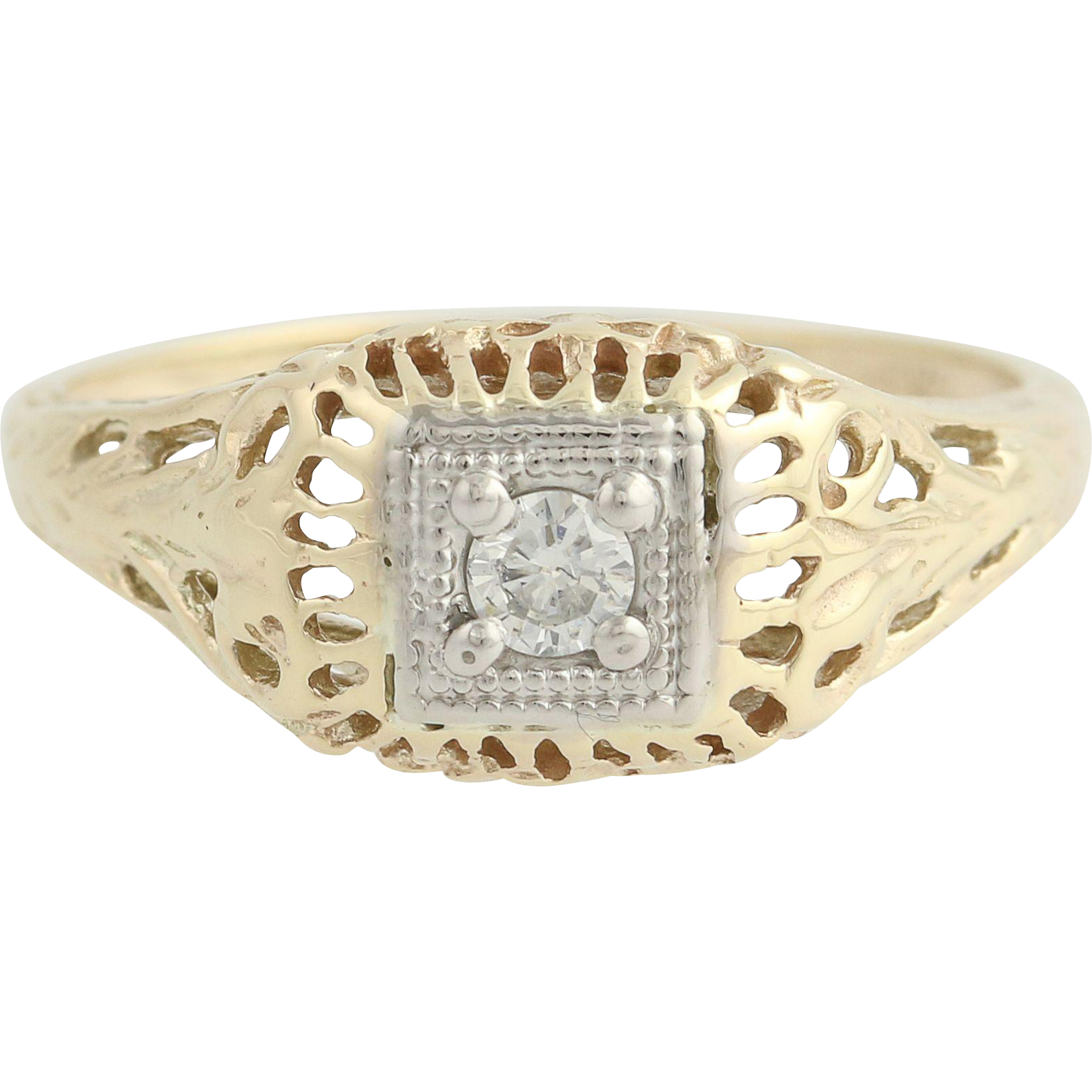 Art Deco Diamond Ring - 10k Yellow & White Gold Vintage .12ct